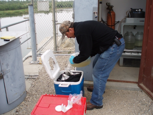 David Thomas compositing aliquots at the Santa Clara River Mass Emission Monitoring Site (May 2007)